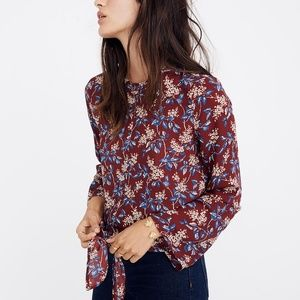 MADEWELL Bell-Sleeve Tie Top in Antique Flora XS